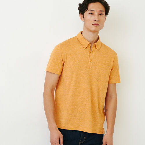 Roots-Men Shirts & Polos-Jersey Peppered Polo-Squash Yellow Pepper-A