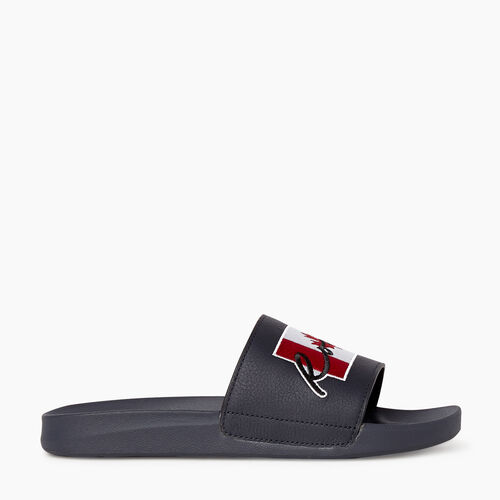 Roots-Sale Footwear-Mens Long Point Canada Slide-Black-A