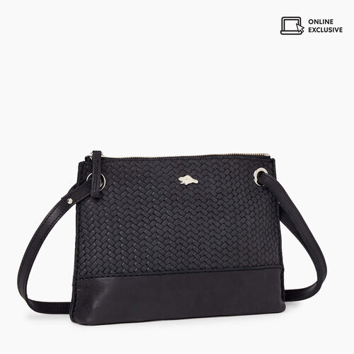 Roots-Leather Bestsellers-Edie Bag Woven-Jet Black-A