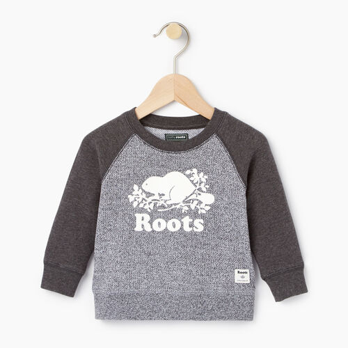 Roots-Kids Categories-Baby Original Crewneck Sweatshirt-Charcoal Mix-A
