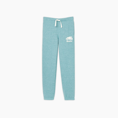 Roots-Kids Bottoms-Girls Original Roots Sweatpant-Aqua Pepper-A