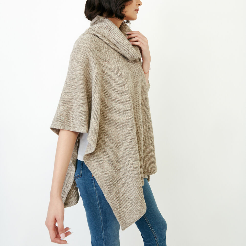 Roots-Women Categories-Nahanni Poncho-Flaxseed Mix-C