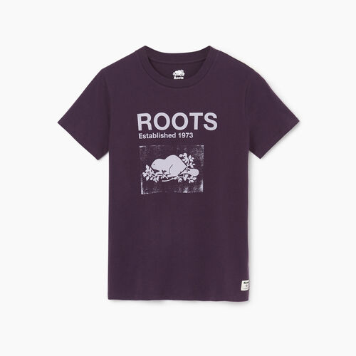 Roots-Women Graphic T-shirts-Womens Canmore T-shirt-Nightshade-A