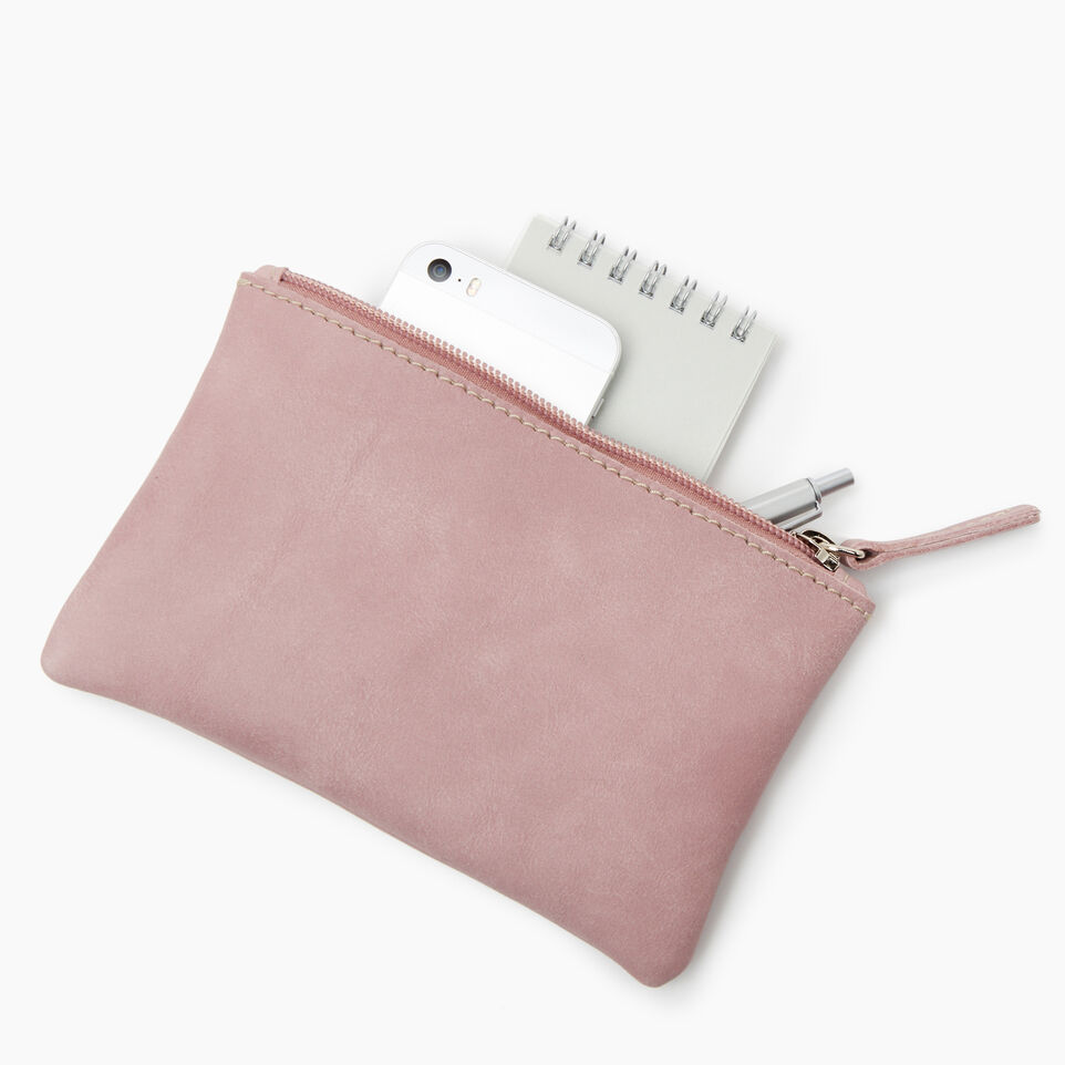 Roots-Leather Leather Accessories-Medium Zip Pouch-Woodrose-D