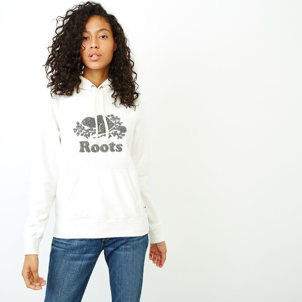 Roots-Women Sweats-Chenille Cooper Beaver Hoody-Ivory-A