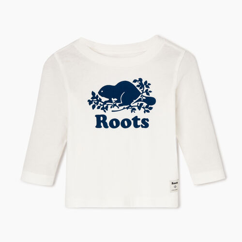 Roots-Sale Kids-Baby Original Cooper Beaver T-shirt-Ivory-A