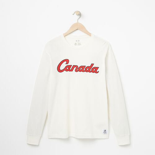 Roots-Men Collections-Mens Canada Script Long Sleeve T-shirt-Pristine White-A
