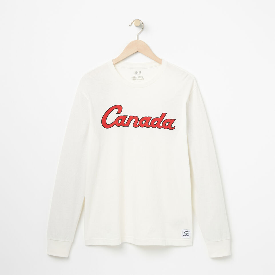 Roots-Mens Canada Script Long Sleeve T-shirt