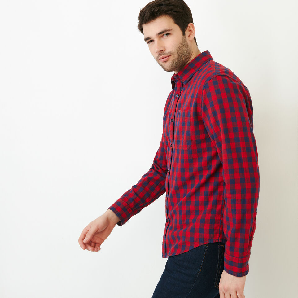 Roots-Men Shirts & Polos-White Pine Long Sleeve Shirt-Sage Red-C