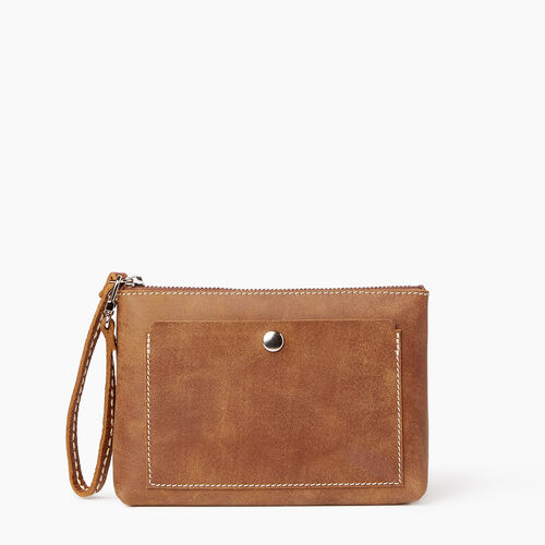 Roots-Women Leather Accessories-Riverdale Pouch-Natural-A