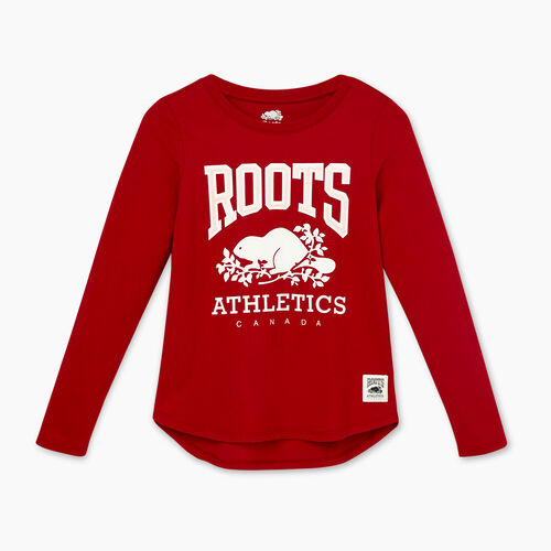 Roots-Sale Girls-Girls RBA T-shirt-Cabin Red-A