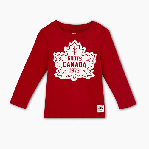 Roots-Kids Tops-Toddler Canada T-shirt-Sage Red-A