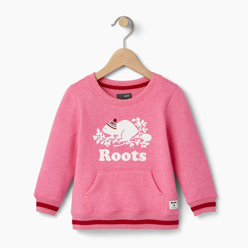 Roots-Clearance Kids-Baby Buddy Crew Sweatshirt-Pink Pepper-A