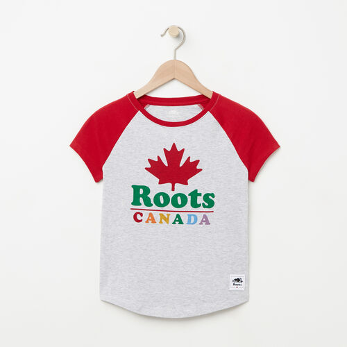 Roots-Sale Girls-Girls Canada Raglan T-shirt-Snowy Ice Mix-A