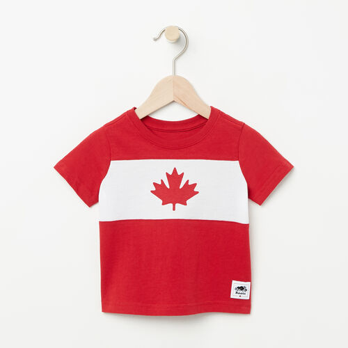 Roots-Kids Baby Boy-Baby Blazon T-shirt-Sage Red-A