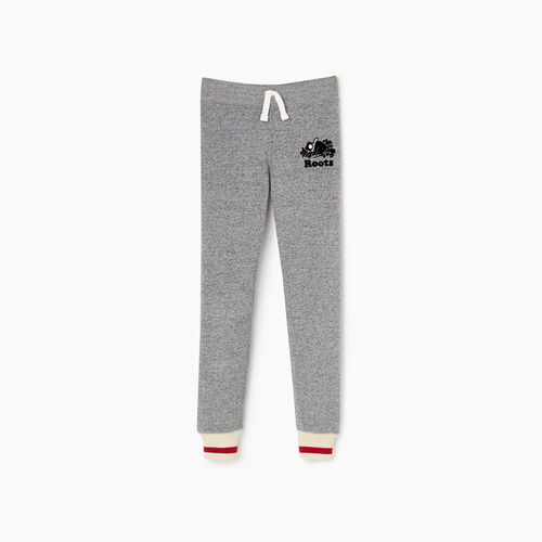Roots-Kids Bottoms-Girls Buddy Cozy Fleece Sweatpant-Salt & Pepper-A