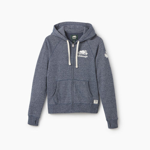 Roots-New For September City Collection-Chicago Full Zip Hoody - Womens-Blue Iris Pepper-A