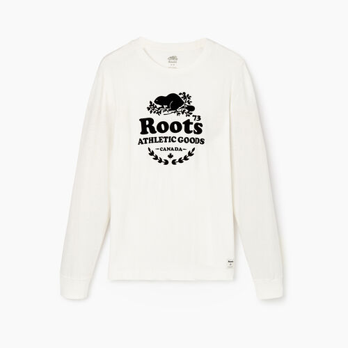 Roots-Men Graphic T-shirts-Mens Laurel Long Sleeve T-shirt-Ivory-A