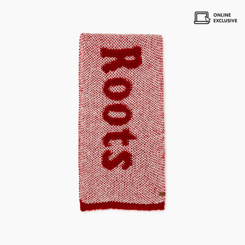 Roots-Women Scarves & Wraps-Roots Sherpa Scarf-Cabin Red Miix-A