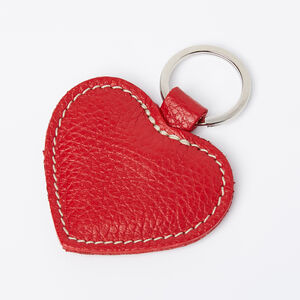 Roots-Women Leather Accessories-Heart Key Ring Prince-Red-A
