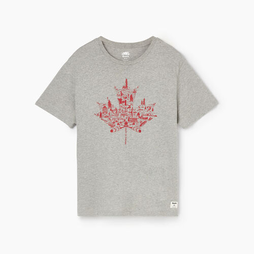 Roots-Men Tops-Mens Oh Canada T-shirt-Grey Mix-A