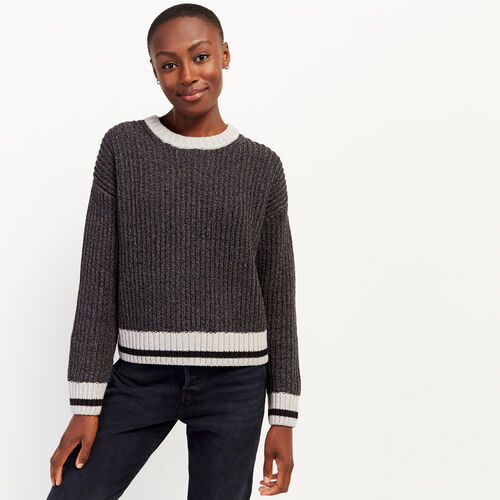 Roots-Women Sweaters & Cardigans-Roots Cotton Cabin Crew Sweater-Black Mix-A