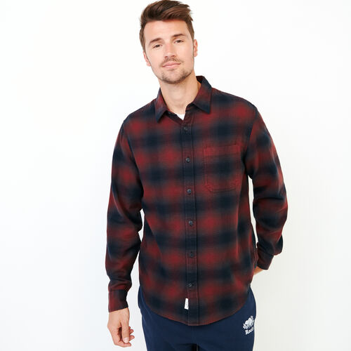 Roots-Men Shirts & Polos-Wallace Flannel Shirt-Cabernet-A