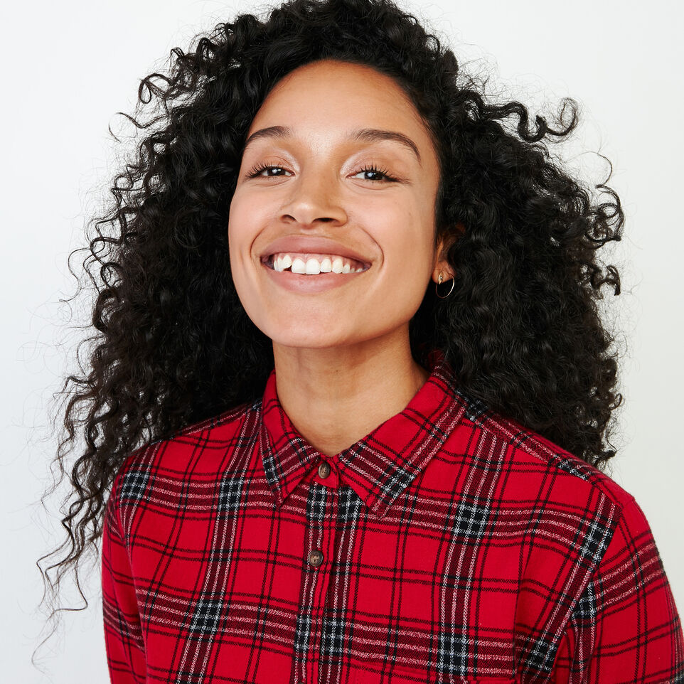 Roots-Women Categories-Relaxed Flannel Shirt-Cabin Red-E