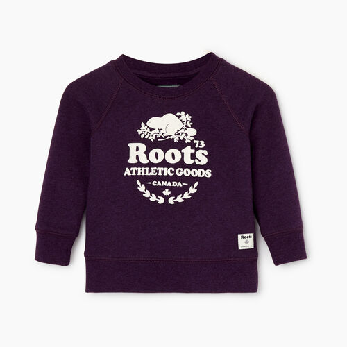 Roots-Kids Baby Girl-Baby Laurel Crewneck Sweatshirt-Blackberry Mix-A