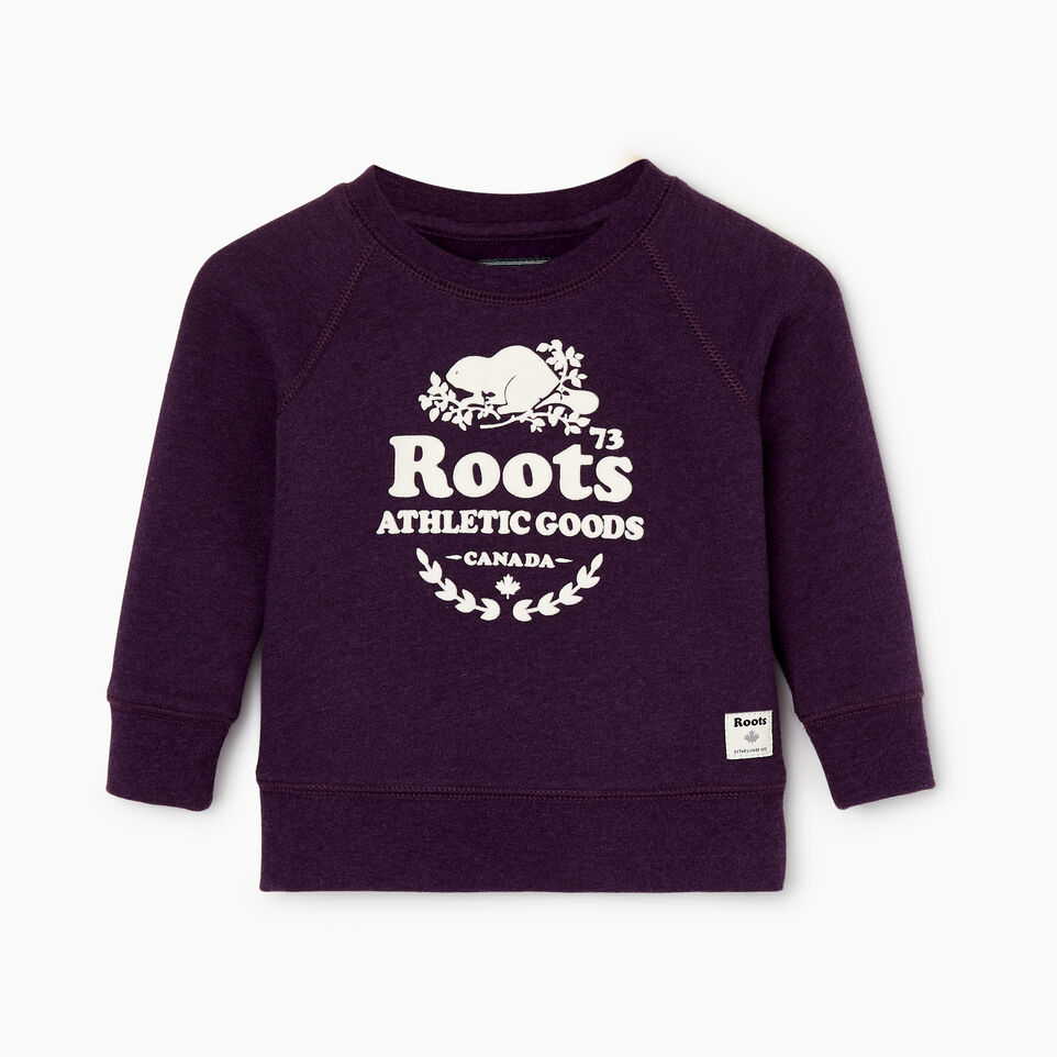 Roots-New For December Kids-Baby Laurel Crewneck Sweatshirt-Blackberry Mix-A