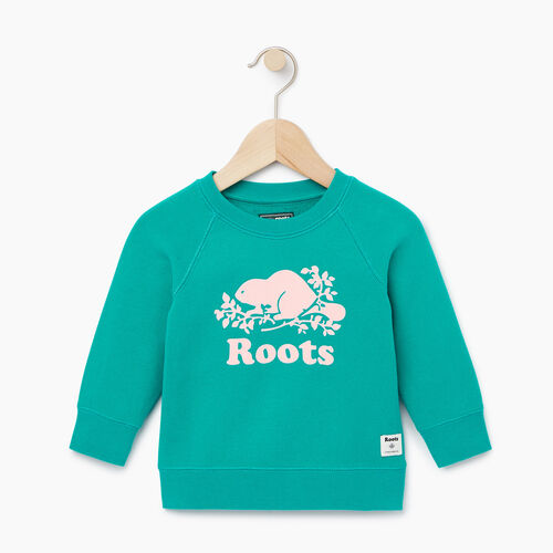 Roots-Clearance Kids-Baby Original Crewneck Sweatshirt-Dynasty Turquoise-A
