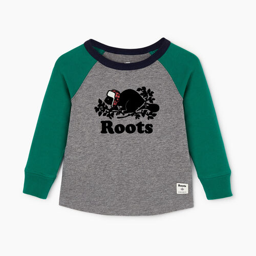 Roots-Kids Our Favourite New Arrivals-Baby Buddy Raglan T-shirt-Ultramarine Green-A