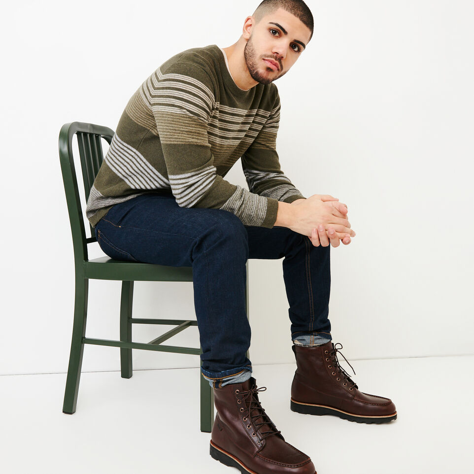 Roots-Men Our Favourite New Arrivals-Canoe Lake Stripe Crew Sweater-Fatigue Mix-B