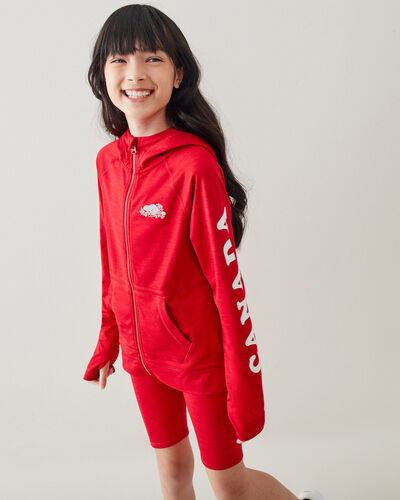 Roots-Sweats Girls-Girls Lola Active Full Zip Hoody-Sage Red-A