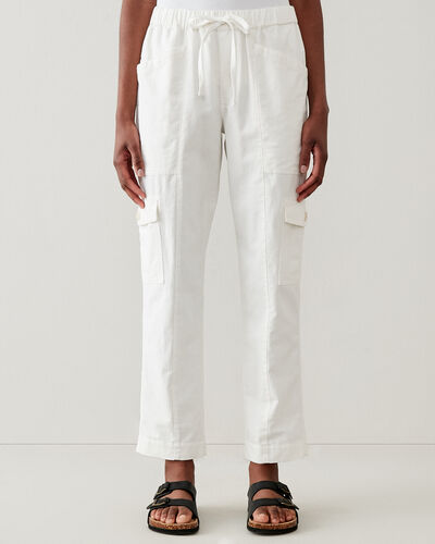 Roots-Women Pants-Margaree Utility Cargo Pant-White-A