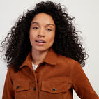 Roots-Leather Leather Jackets-Womens Trucker Jacket Suede-Tan-E