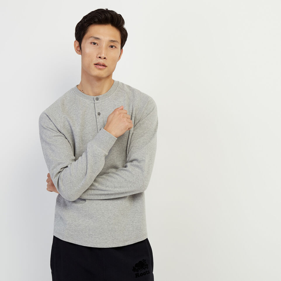 Roots-Men Our Favourite New Arrivals-Sun Peaks Thermal Henley-Grey Mix-A