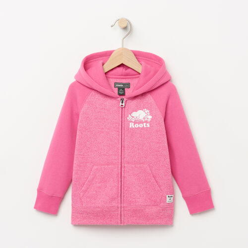 Roots-Kids Tops-Toddler Original Full Zip Hoody-Azalea Pink Pepper-A