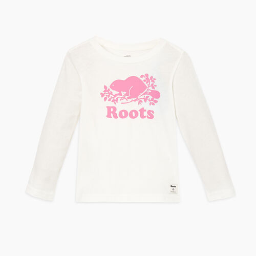 Roots-Kids Tops-Toddler Original Cooper Beaver T-shirt-Ivory-A
