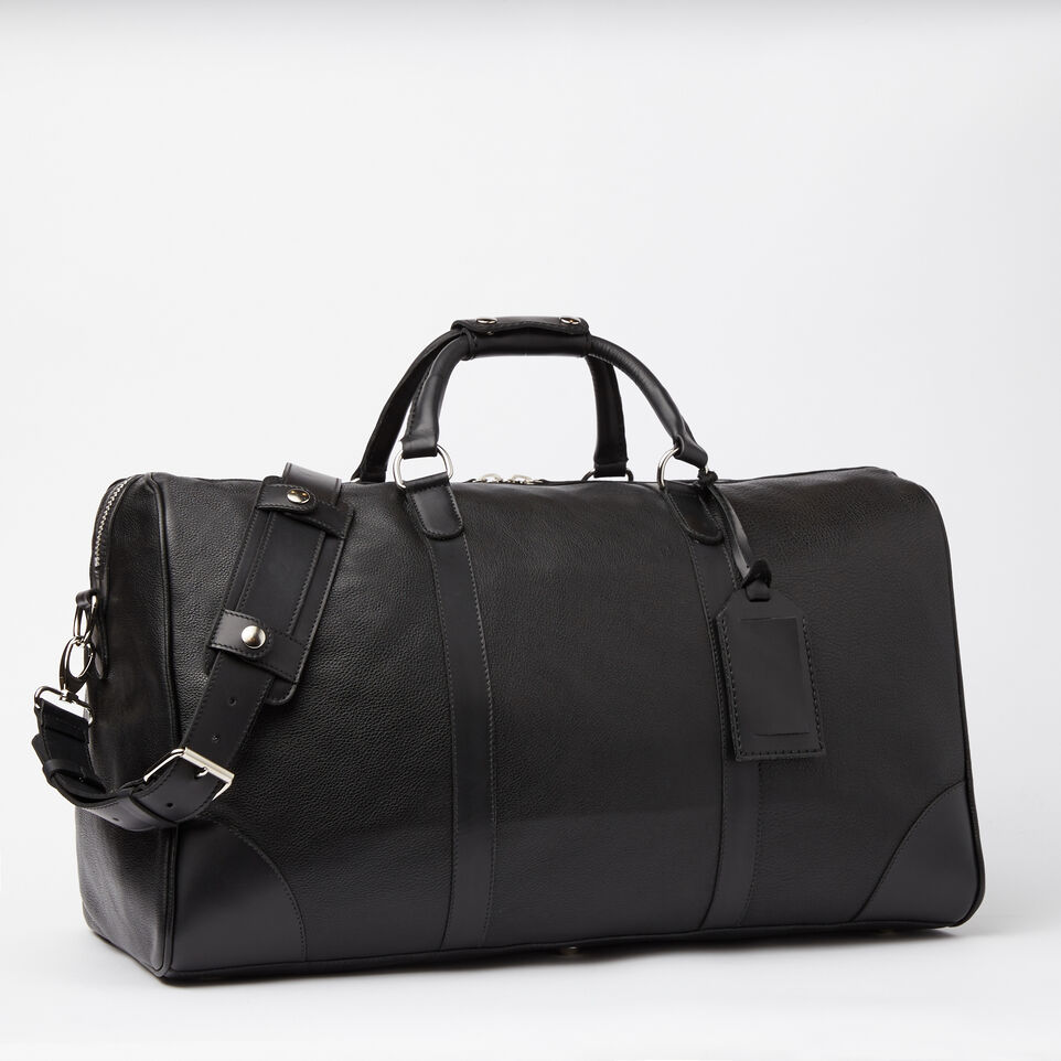 Roots-Leather Weekender Bags-Large Banff Bag Prince-Black-C