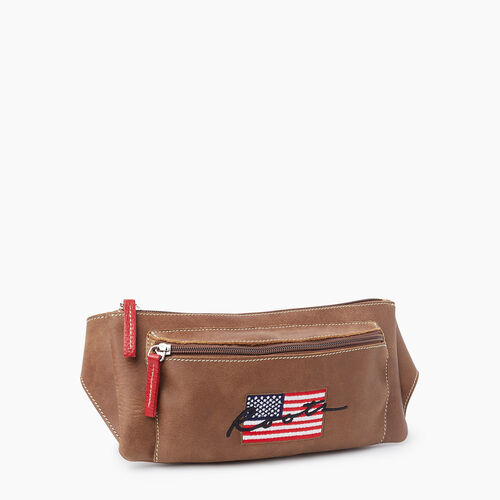 Roots-Leather Mini Leather Handbags-Script USA Fanny Pack Tribe-Natural-A