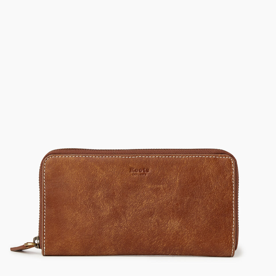 Roots-Leather Our Favourite New Arrivals-Zip Around Clutch Tribe-Natural-A