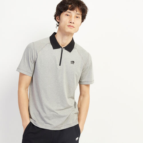 Roots-Men Clothing-Journey Zip Polo-Grey Mix-A