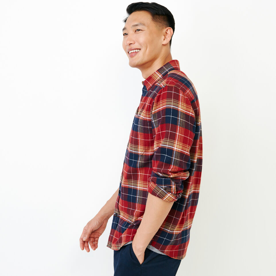 Roots-Men New Arrivals-Rivers Flannel Shirt-Sundried Tomato-C