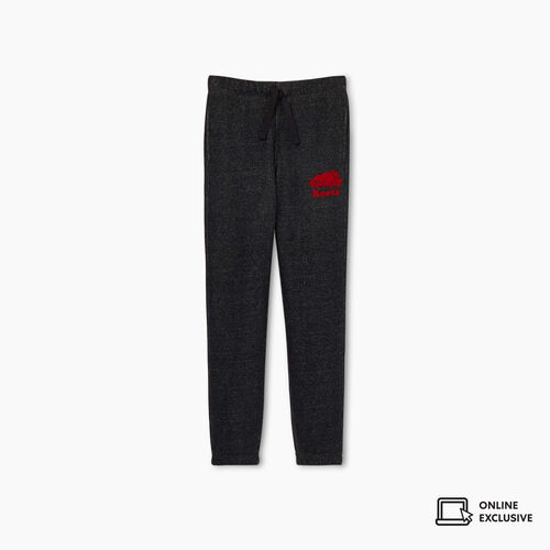 Roots-Kids New Arrivals-Girls Heritage Plaid Sweatpant-Black Pepper-A
