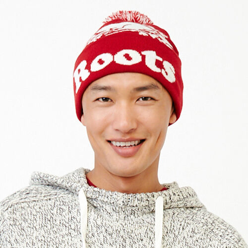 Roots-Men Categories-Cooper Beaver Pom Pom Toque-Cabin Red-A