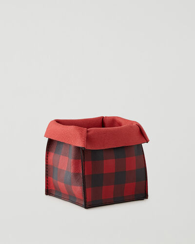 Roots-Leather Leather Accessories-Park Plaid Medium Basket Cervino-Cabin Red-A