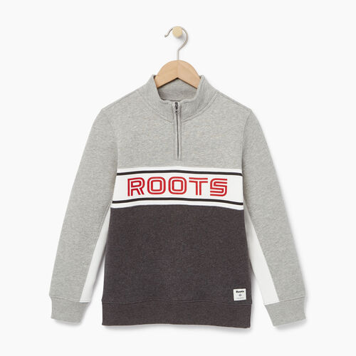 Roots-Clearance Kids-Boys Sportsmas 1/4 Zip Pullover-Charcoal Mix-A