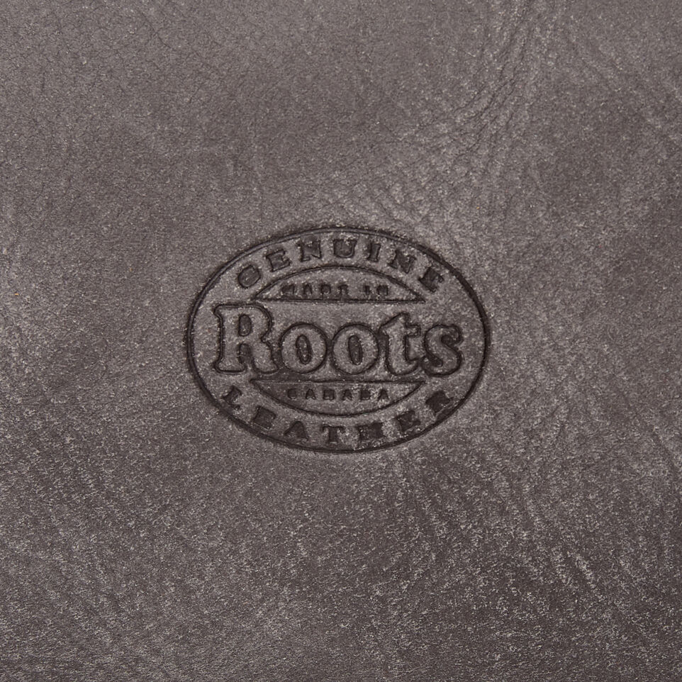 Roots-Leather Categories-Medium Zip Pouch-Charcoal-E