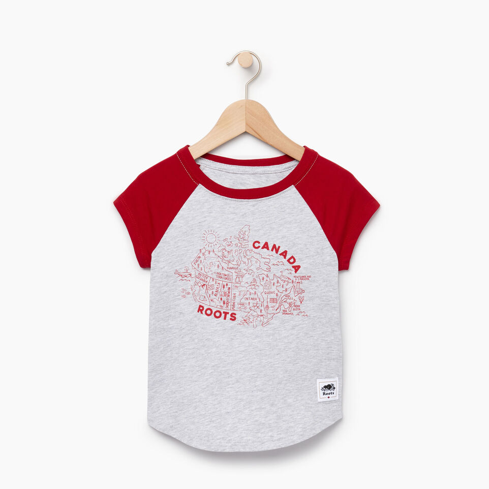 Roots-Kids Our Favourite New Arrivals-Toddler Canada Map T-shirt-Snowy Ice Mix-A